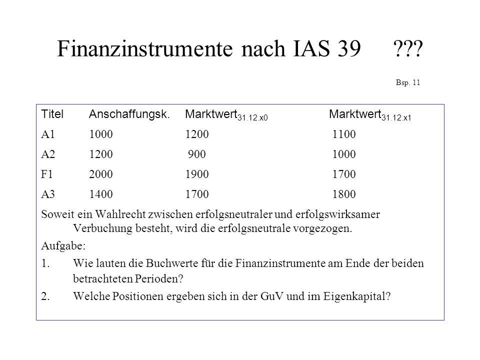 Finanzinstrumente nach IAS 39??? Bsp. 11 Titel Anschaffungsk. Marktwert 31.12.x0 Marktwert 31.12.x1 A1 1000 1200 1100 A2 1200 900 1000 F12000 1900 170