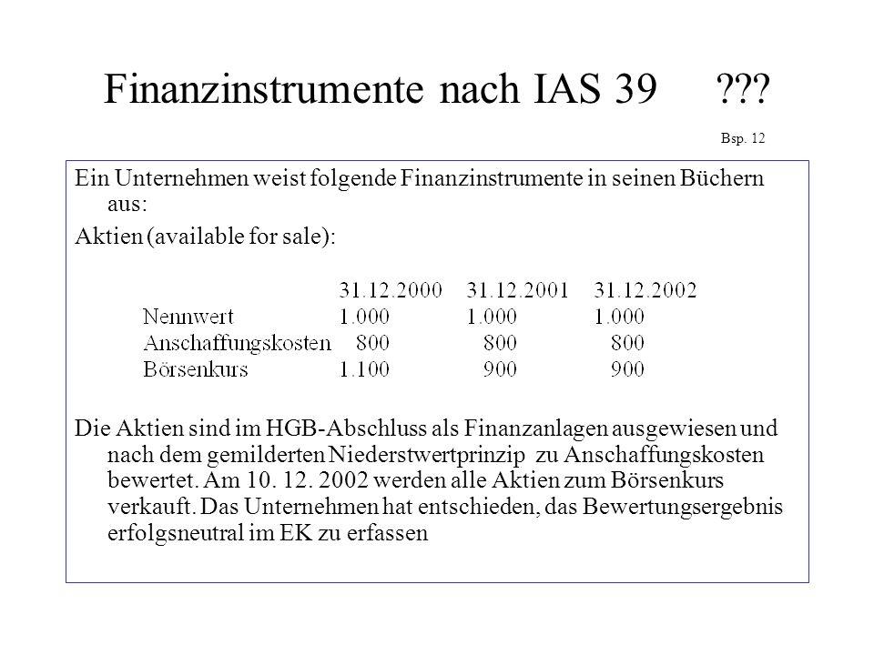 Finanzinstrumente nach IAS 39??? Bsp. 12 Ein Unternehmen weist folgende Finanzinstrumente in seinen Büchern aus: Aktien (available for sale): Die Akti