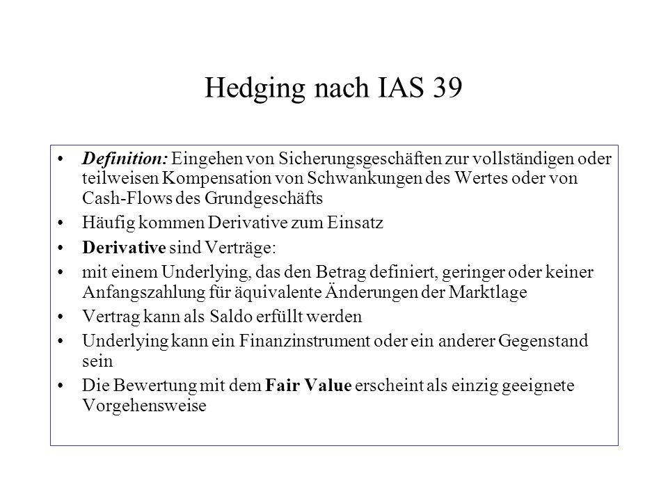Hedging nach IAS 39 Definition: Eingehen von Sicherungsgeschäften zur vollständigen oder teilweisen Kompensation von Schwankungen des Wertes oder von