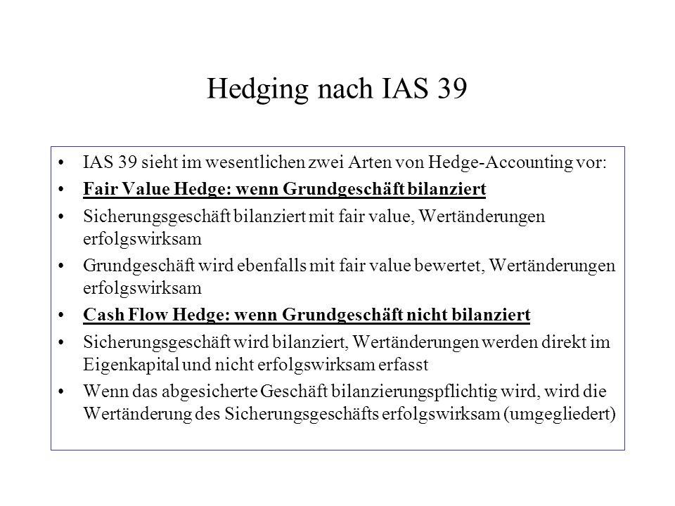 Hedging nach IAS 39 IAS 39 sieht im wesentlichen zwei Arten von Hedge-Accounting vor: Fair Value Hedge: wenn Grundgeschäft bilanziert Sicherungsgeschä