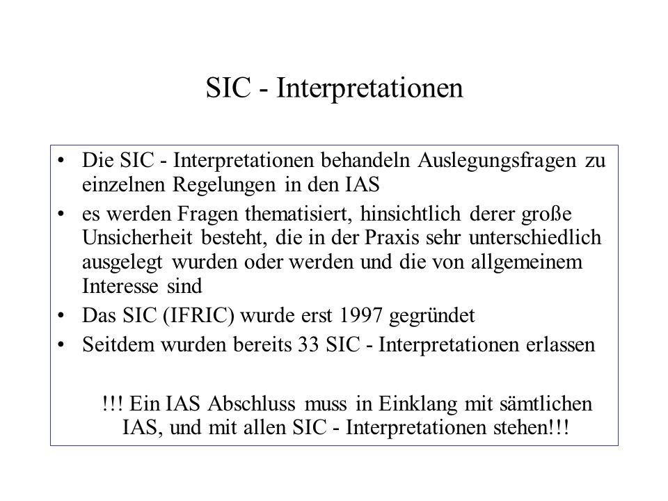 SIC - Interpretationen Die SIC - Interpretationen behandeln Auslegungsfragen zu einzelnen Regelungen in den IAS es werden Fragen thematisiert, hinsich