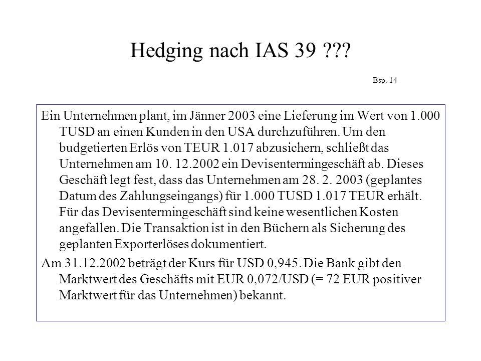 Hedging nach IAS 39??? Bsp. 14 Ein Unternehmen plant, im Jänner 2003 eine Lieferung im Wert von 1.000 TUSD an einen Kunden in den USA durchzuführen. U