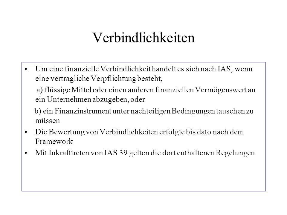 Verbindlichkeiten Um eine finanzielle Verbindlichkeit handelt es sich nach IAS, wenn eine vertragliche Verpflichtung besteht, a) flüssige Mittel oder