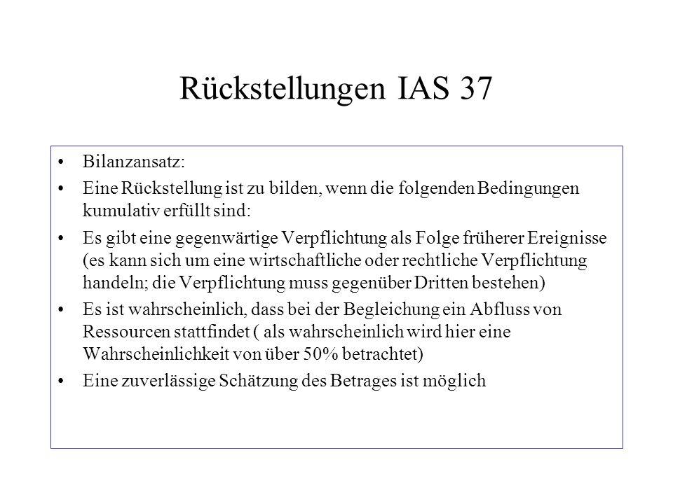 Rückstellungen IAS 37 Bilanzansatz: Eine Rückstellung ist zu bilden, wenn die folgenden Bedingungen kumulativ erfüllt sind: Es gibt eine gegenwärtige