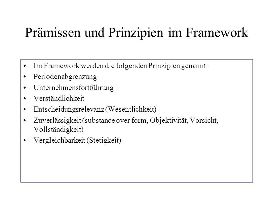 Prämissen und Prinzipien im Framework Im Framework werden die folgenden Prinzipien genannt: Periodenabgrenzung Unternehmensfortführung Verständlichkei