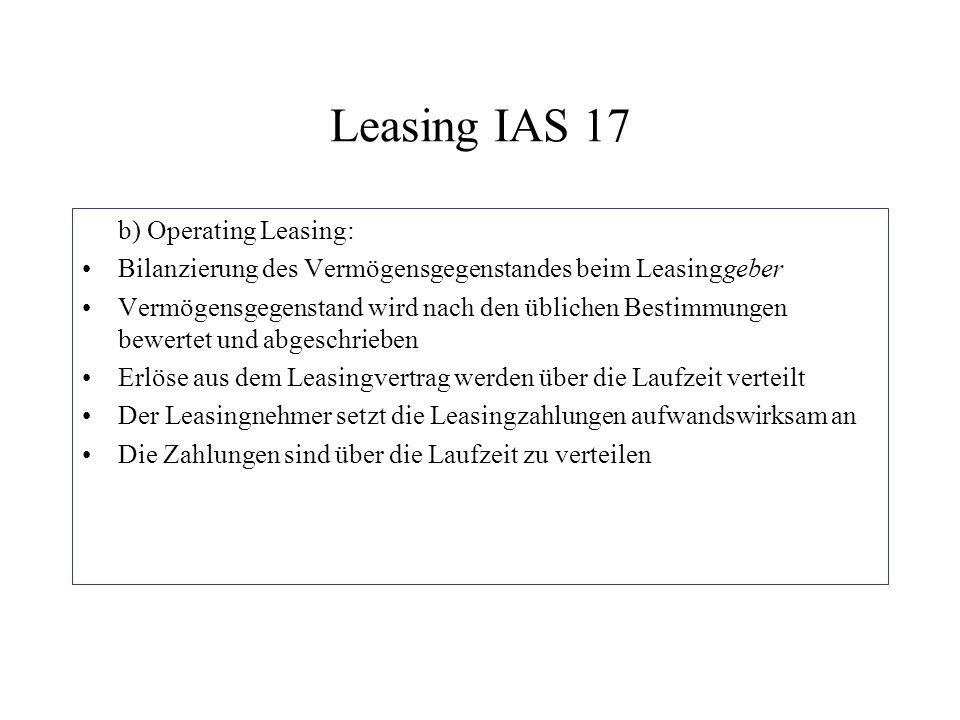Leasing IAS 17 b) Operating Leasing: Bilanzierung des Vermögensgegenstandes beim Leasinggeber Vermögensgegenstand wird nach den üblichen Bestimmungen