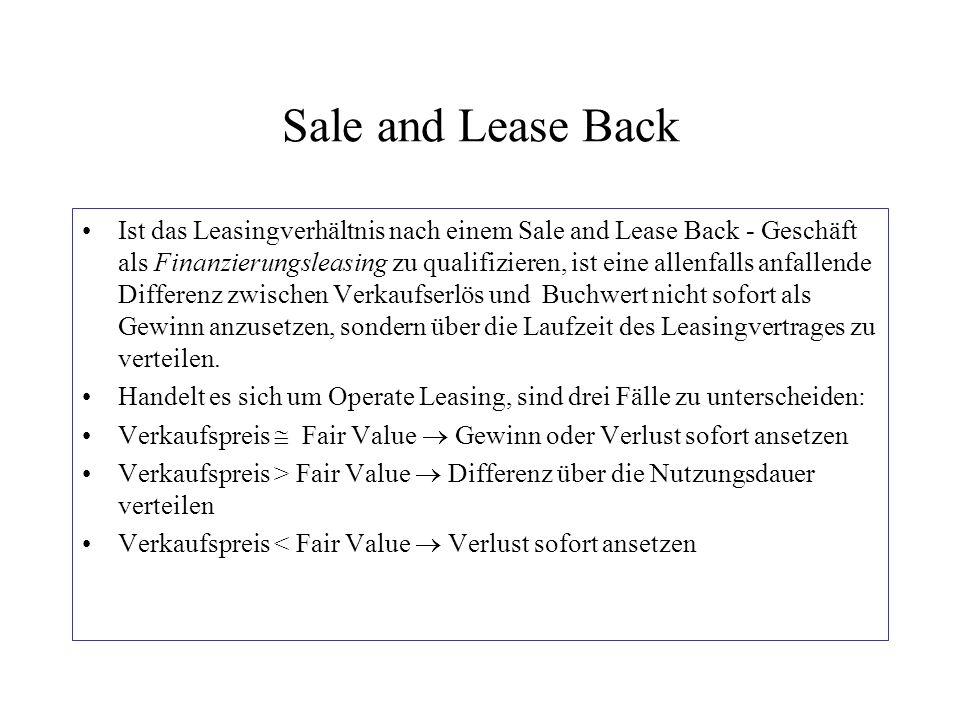 Sale and Lease Back Ist das Leasingverhältnis nach einem Sale and Lease Back - Geschäft als Finanzierungsleasing zu qualifizieren, ist eine allenfalls