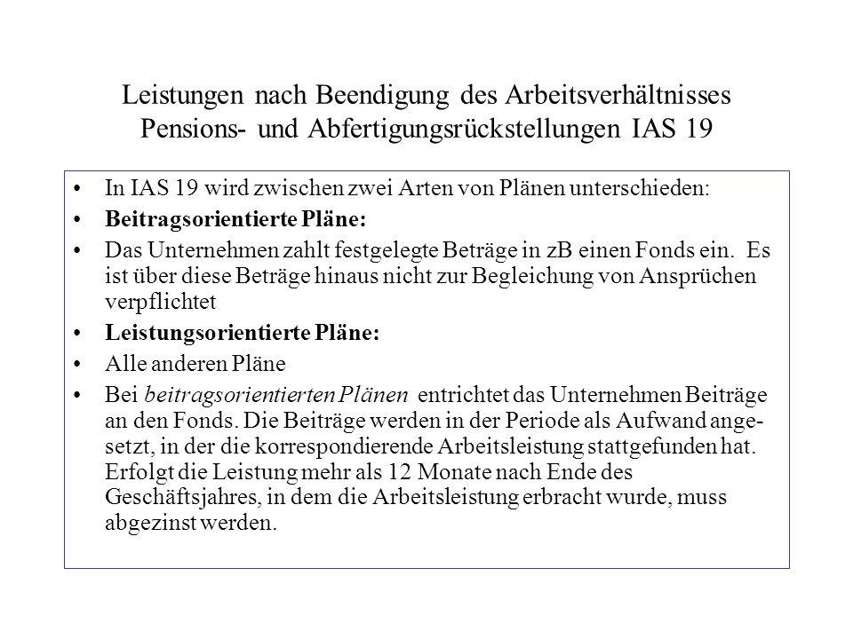 Leistungen nach Beendigung des Arbeitsverhältnisses Pensions- und Abfertigungsrückstellungen IAS 19 In IAS 19 wird zwischen zwei Arten von Plänen unte