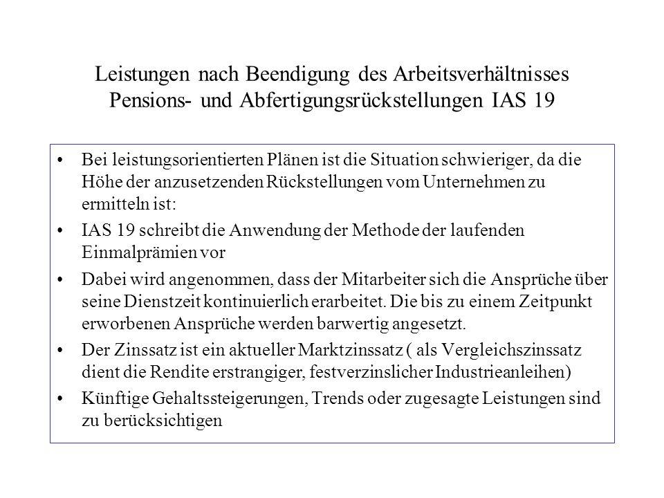 Leistungen nach Beendigung des Arbeitsverhältnisses Pensions- und Abfertigungsrückstellungen IAS 19 Bei leistungsorientierten Plänen ist die Situation