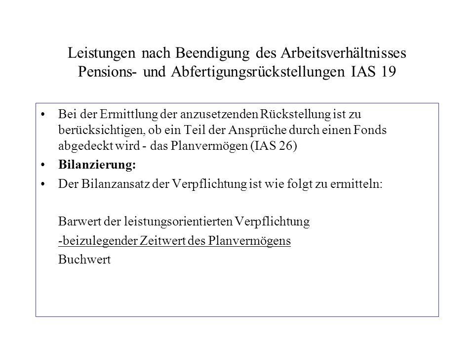 Leistungen nach Beendigung des Arbeitsverhältnisses Pensions- und Abfertigungsrückstellungen IAS 19 Bei der Ermittlung der anzusetzenden Rückstellung