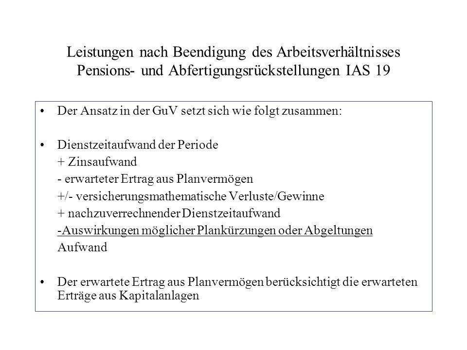 Leistungen nach Beendigung des Arbeitsverhältnisses Pensions- und Abfertigungsrückstellungen IAS 19 Der Ansatz in der GuV setzt sich wie folgt zusamme