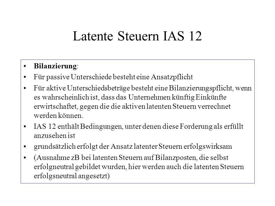Latente Steuern IAS 12 Bilanzierung: Für passive Unterschiede besteht eine Ansatzpflicht Für aktive Unterschiedsbeträge besteht eine Bilanzierungspfli