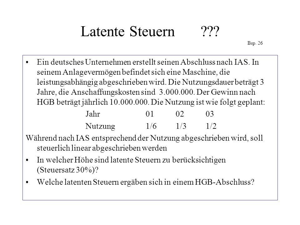 Latente Steuern??? Bsp. 26 Ein deutsches Unternehmen erstellt seinen Abschluss nach IAS. In seinem Anlagevermögen befindet sich eine Maschine, die lei