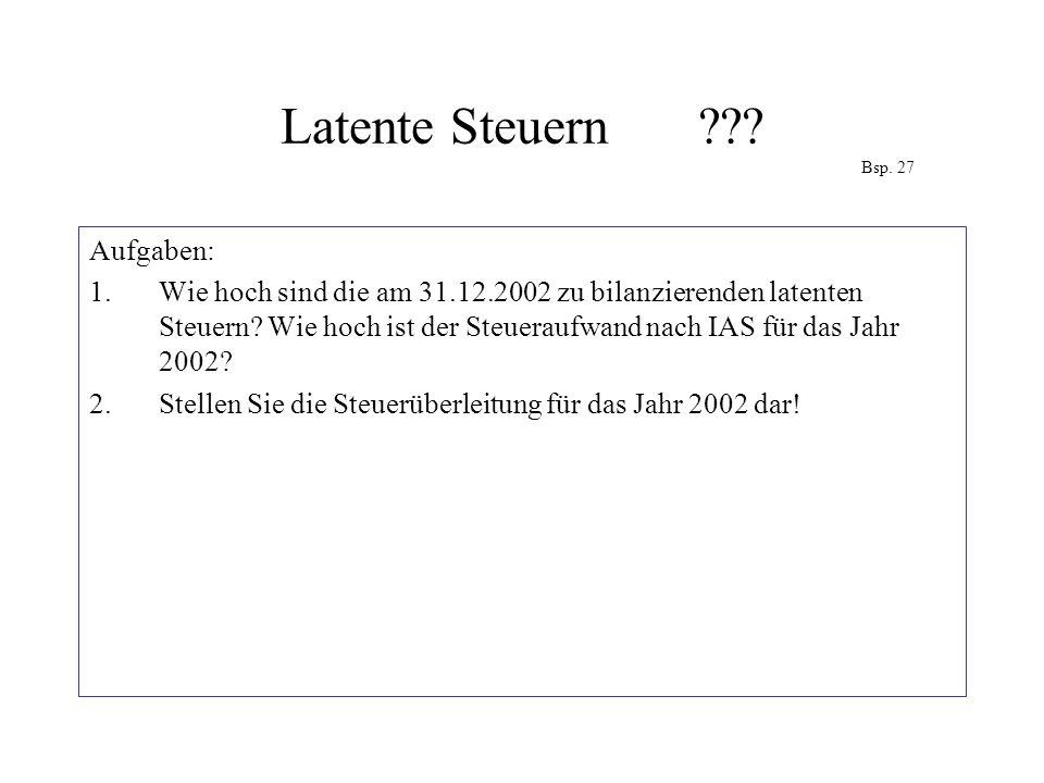 Latente Steuern??? Bsp. 27 Aufgaben: 1.Wie hoch sind die am 31.12.2002 zu bilanzierenden latenten Steuern? Wie hoch ist der Steueraufwand nach IAS für