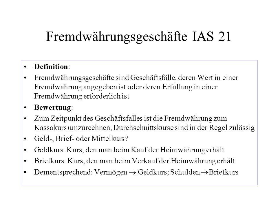 Fremdwährungsgeschäfte IAS 21 Definition: Fremdwährungsgeschäfte sind Geschäftsfälle, deren Wert in einer Fremdwährung angegeben ist oder deren Erfüll