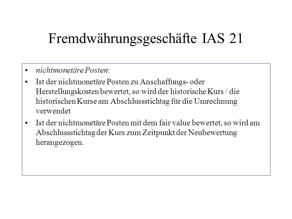 Fremdwährungsgeschäfte IAS 21 nichtmonetäre Posten: Ist der nichtmonetäre Posten zu Anschaffungs- oder Herstellungskosten bewertet, so wird der histor