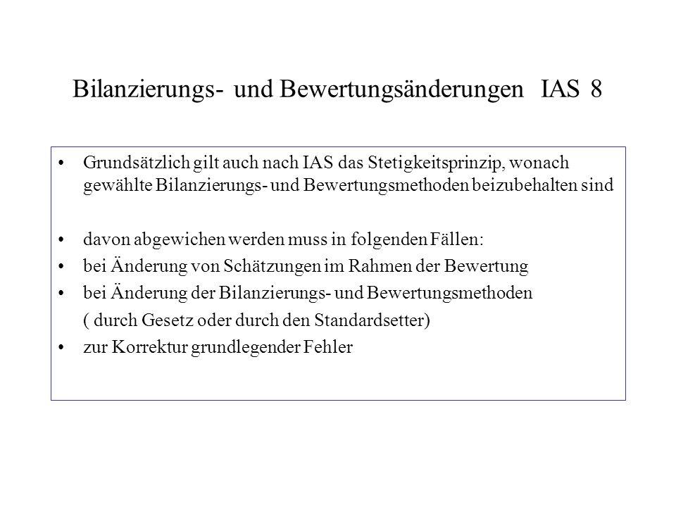 Bilanzierungs- und Bewertungsänderungen IAS 8 Grundsätzlich gilt auch nach IAS das Stetigkeitsprinzip, wonach gewählte Bilanzierungs- und Bewertungsme