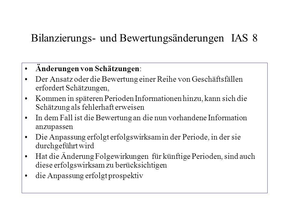 Bilanzierungs- und Bewertungsänderungen IAS 8 Änderungen von Schätzungen: Der Ansatz oder die Bewertung einer Reihe von Geschäftsfällen erfordert Schä