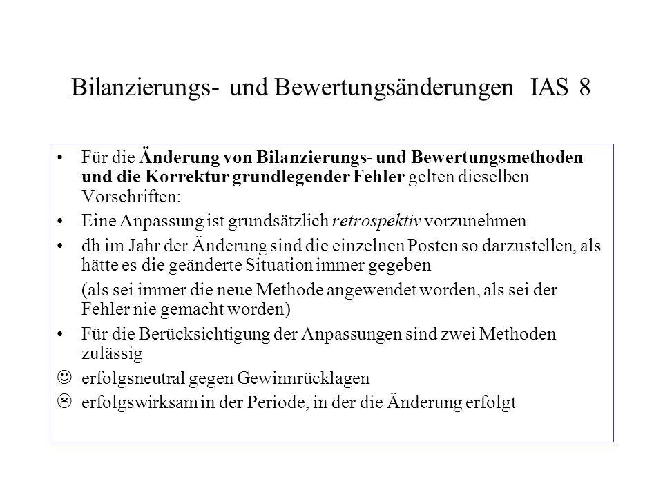Bilanzierungs- und Bewertungsänderungen IAS 8 Für die Änderung von Bilanzierungs- und Bewertungsmethoden und die Korrektur grundlegender Fehler gelten