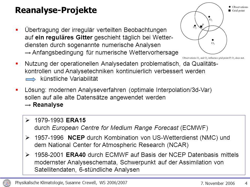 7. November 2006 Physikalische Klimatologie, Susanne Crewell, WS 2006/2007 15 IPCC 01 Vorhersagen