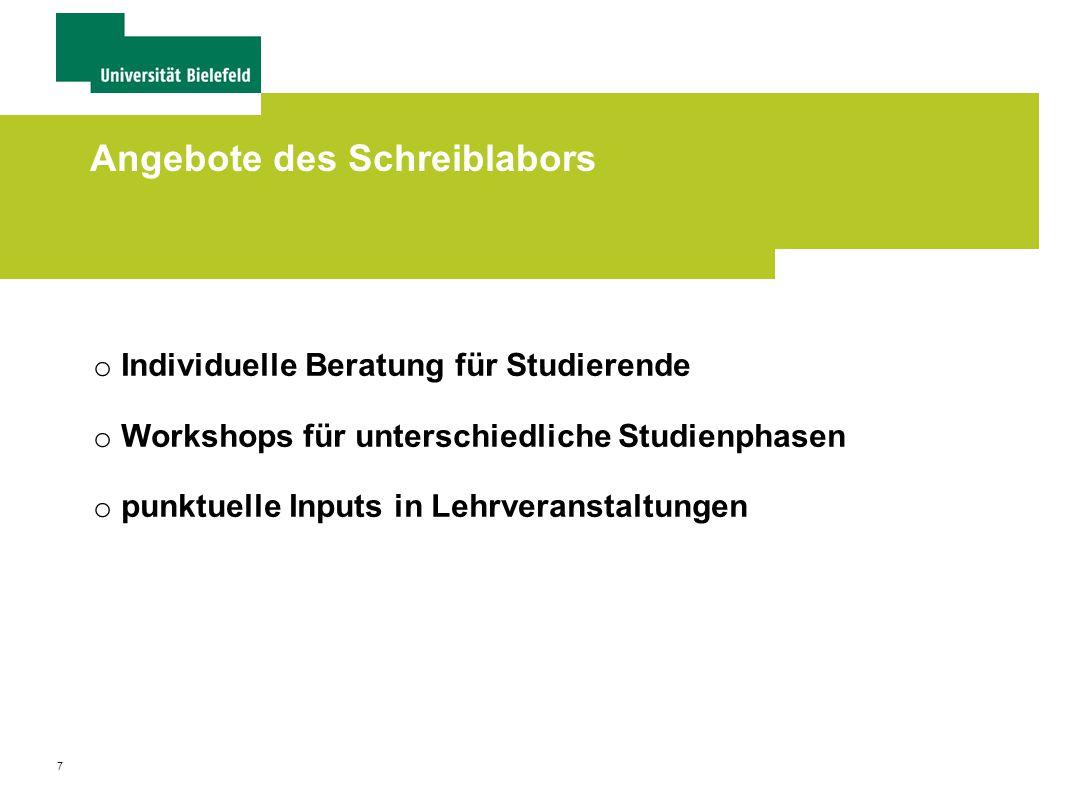 7 Angebote des Schreiblabors o Individuelle Beratung für Studierende o Workshops für unterschiedliche Studienphasen o punktuelle Inputs in Lehrveranstaltungen