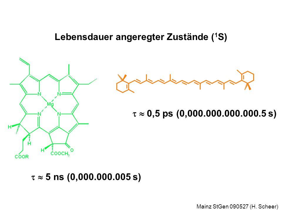 Mainz StGen 090527 (H. Scheer) Jablonski Diagram zur 1 O 2 Sensibilisierung Gefahr !