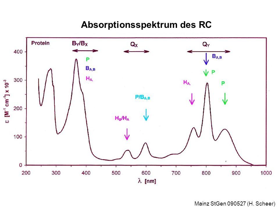 Mainz StGen 090527 (H. Scheer) Absorptionsspektrum des RC