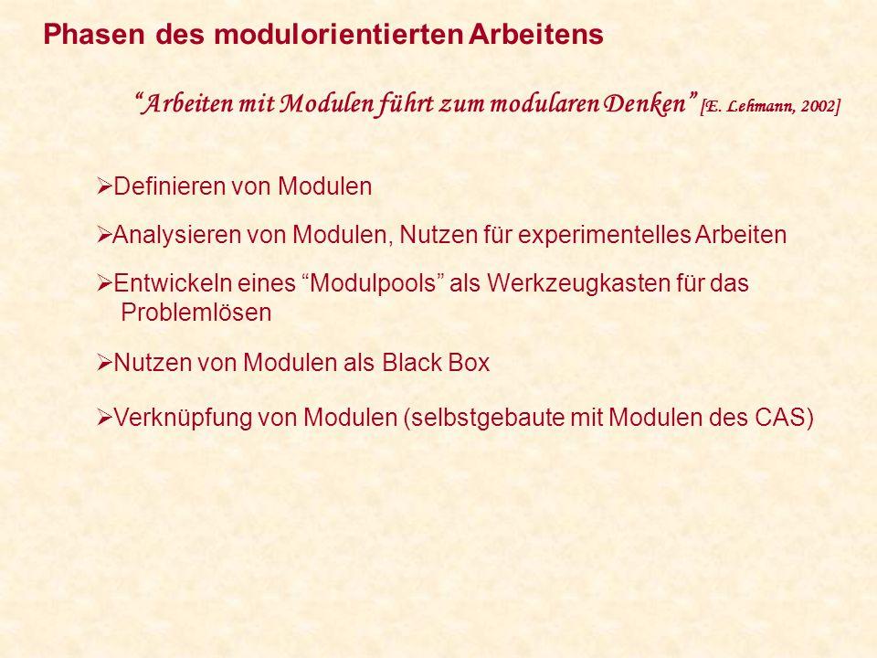 Phasen des modulorientierten Arbeitens Arbeiten mit Modulen führt zum modularen Denken [E.