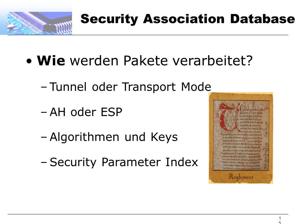 15 Security Association Database Wie werden Pakete verarbeitet? –Tunnel oder Transport Mode –AH oder ESP –Algorithmen und Keys –Security Parameter Ind
