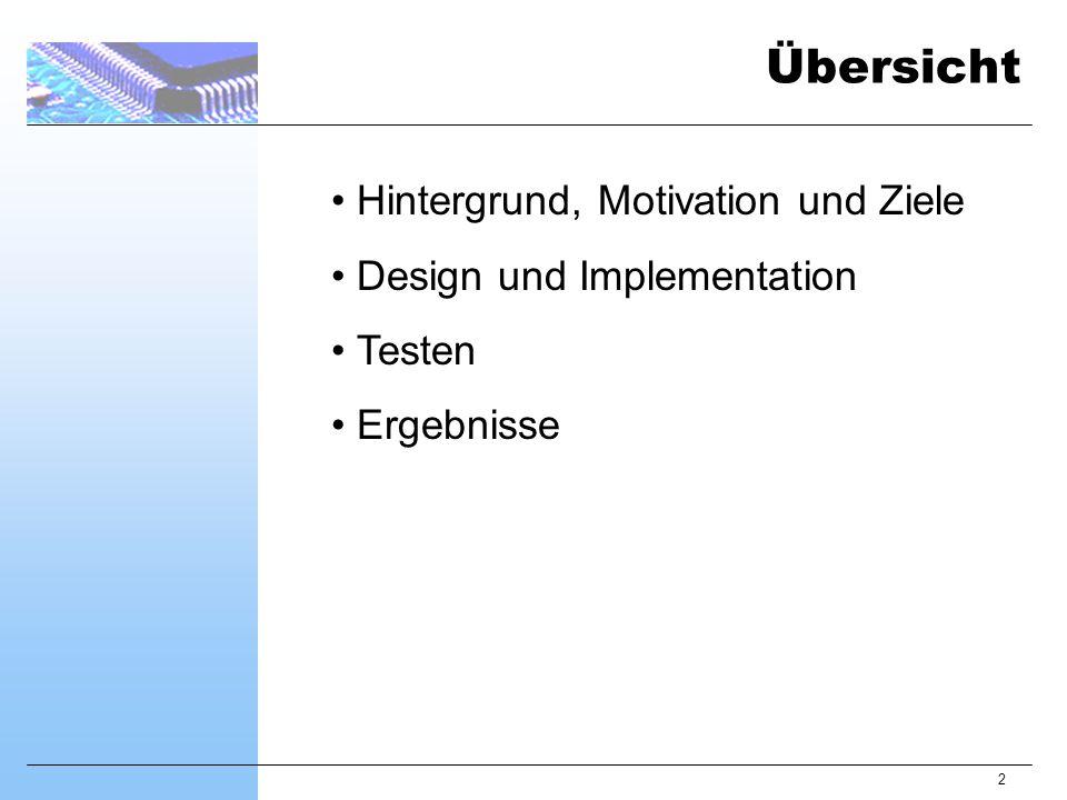 2 Hintergrund, Motivation und Ziele Design und Implementation Testen Ergebnisse Übersicht