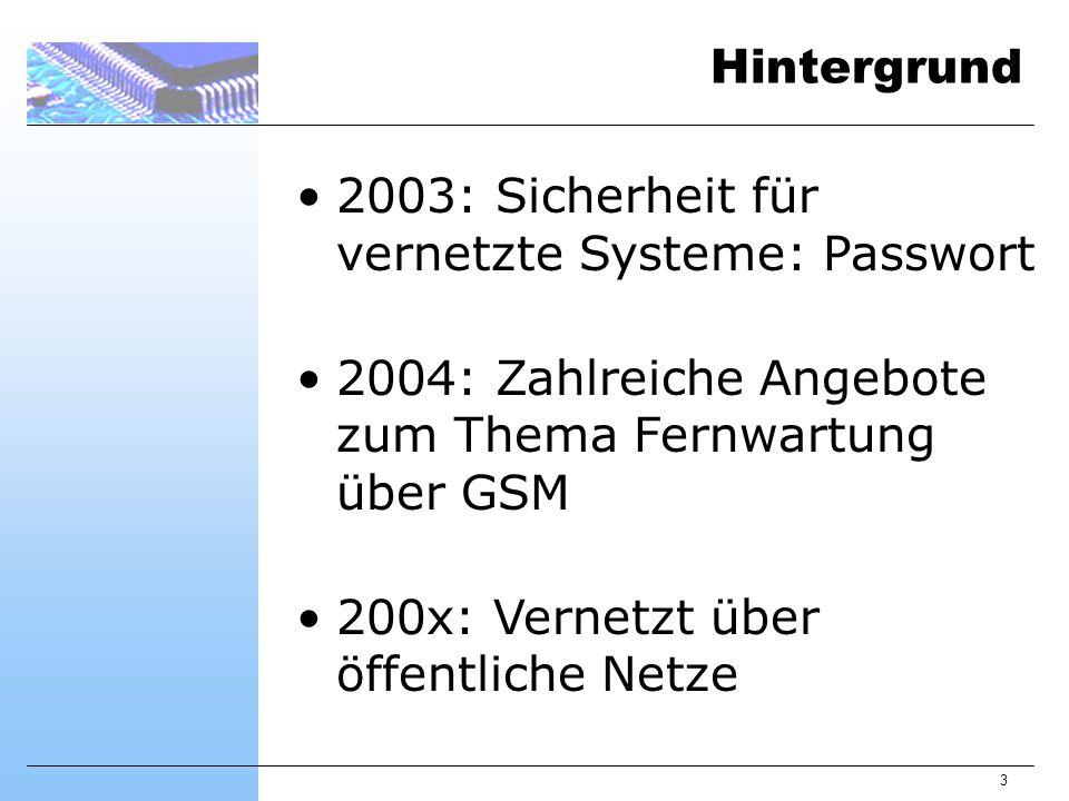 3 Hintergrund 2003: Sicherheit für vernetzte Systeme: Passwort 2004: Zahlreiche Angebote zum Thema Fernwartung über GSM 200x: Vernetzt über öffentliche Netze