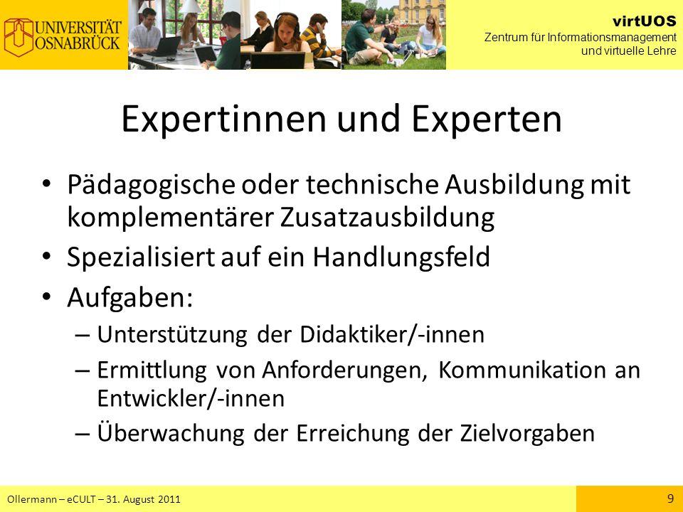 virtUOS Zentrum für Informationsmanagement und virtuelle Lehre Ollermann – eCULT – 31.