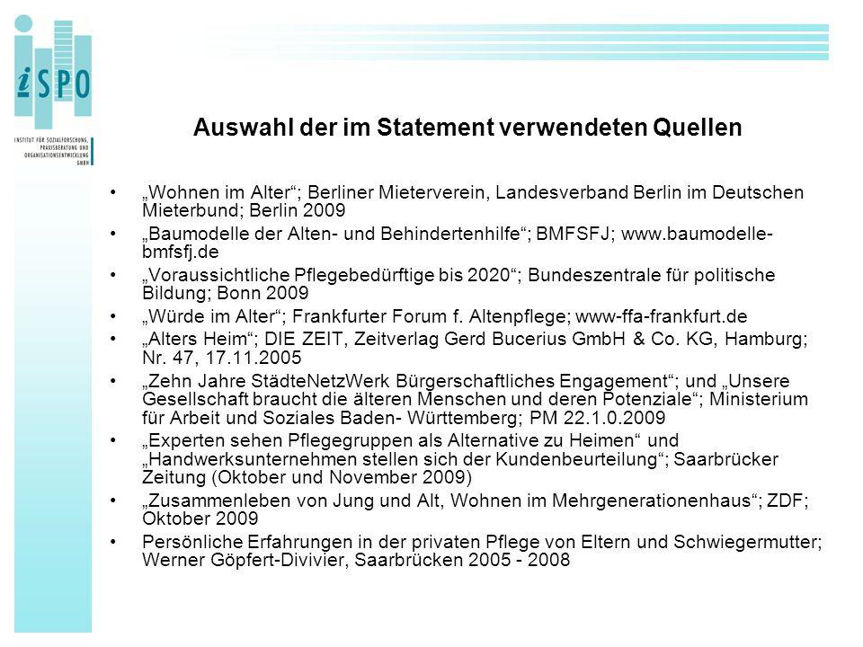 """Auswahl der im Statement verwendeten Quellen """"Wohnen im Alter""""; Berliner Mieterverein, Landesverband Berlin im Deutschen Mieterbund; Berlin 2009 """"Baum"""