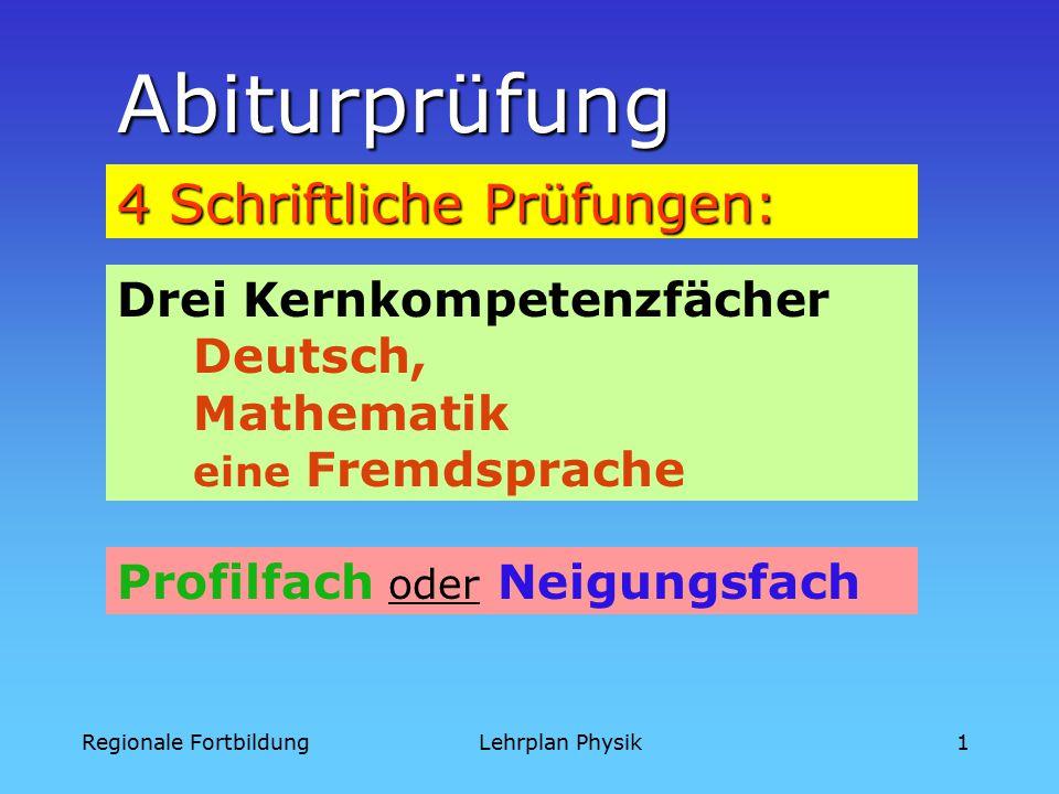 Regionale FortbildungLehrplan Physik1 Abiturprüfung 4 Schriftliche Prüfungen: Drei Kernkompetenzfächer Deutsch, Mathematik eine Fremdsprache Profilfach oder Neigungsfach