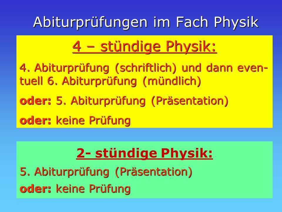 Abiturprüfungen im Fach Physik 4 – stündige Physik: 4.