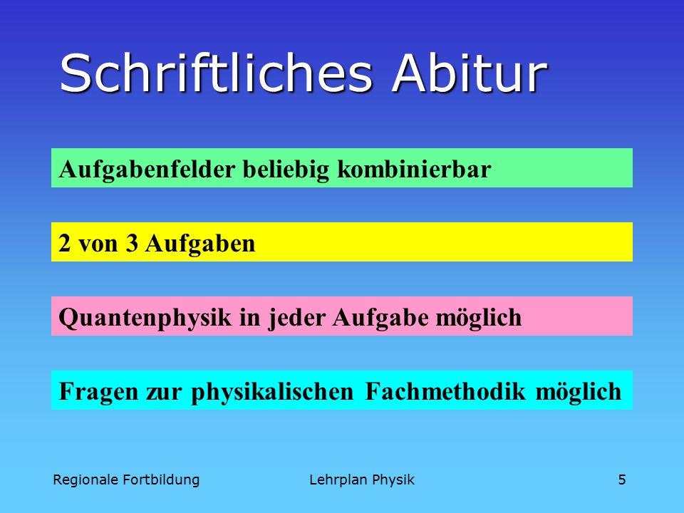 Regionale FortbildungLehrplan Physik5 2 von 3 Aufgaben Fragen zur physikalischen Fachmethodik möglich Schriftliches Abitur Quantenphysik in jeder Aufgabe möglich Aufgabenfelder beliebig kombinierbar