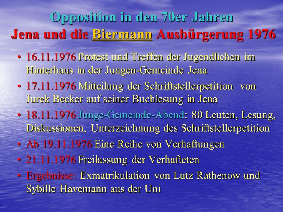 1952 geb. in Jena 1952 geb. in Jena März 1977 politische Exmatrikulation aus der Uni März 1977 politische Exmatrikulation aus der Uni September 1977 Ü