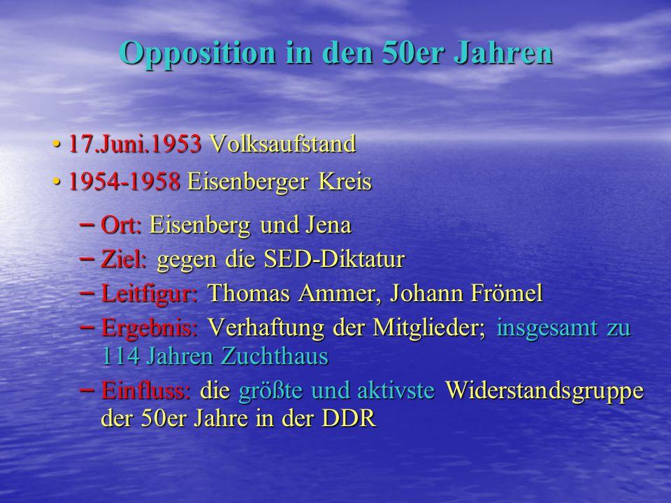 Opposition in den 40er Jahren 1945-1948 die liberale Hochschulgruppe Leitfigur: Hans Leisegang Leitfigur: Hans Leisegang Ziel: Einfluss der SED-Kader