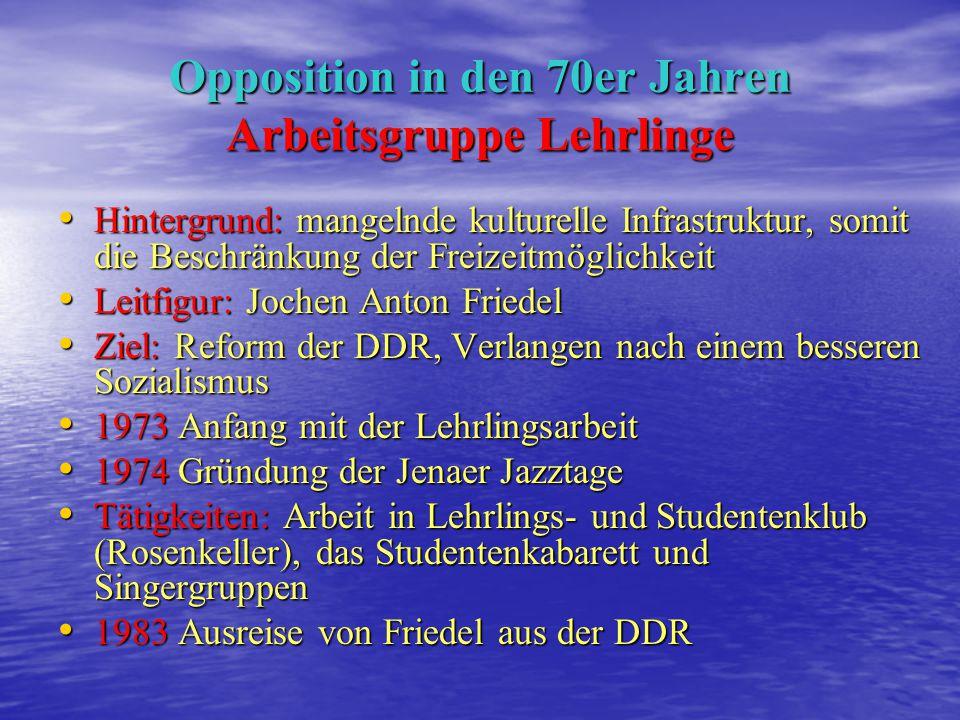 Opposition in den 60er Jahren 1967/68: Gründung einer Gruppe von bis zu 20 Studenten der Uni Jena 1967/68: Gründung einer Gruppe von bis zu 20 Student