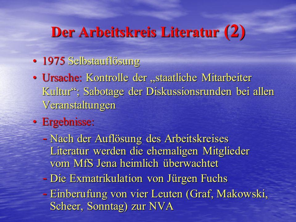Opposition in den 70er Jahren Der Arbeitskreis Literatur (1) Mitglieder: Jürgen Fuchs, Lutz Rathenow etc. Mitglieder: Jürgen Fuchs, Lutz Rathenow etc.