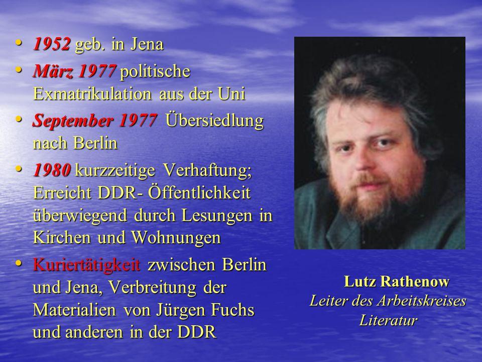 1950 geb. in Reichenbach/ Vogtland 1950 geb. in Reichenbach/ Vogtland 1968 Abbruch des Studiums aus politischen Gründen, Armeedienst 1968 Abbruch des