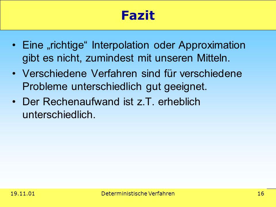 """19.11.01Deterministische Verfahren 16 Fazit Eine """"richtige"""" Interpolation oder Approximation gibt es nicht, zumindest mit unseren Mitteln. Verschieden"""