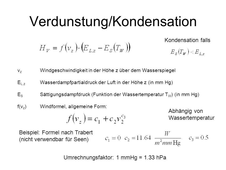 Verdunstung/Kondensation v z Windgeschwindigkeit in der Höhe z über dem Wasserspiegel E L,z Wasserdampfpartialdruck der Luft in der Höhe z (in mm Hg)