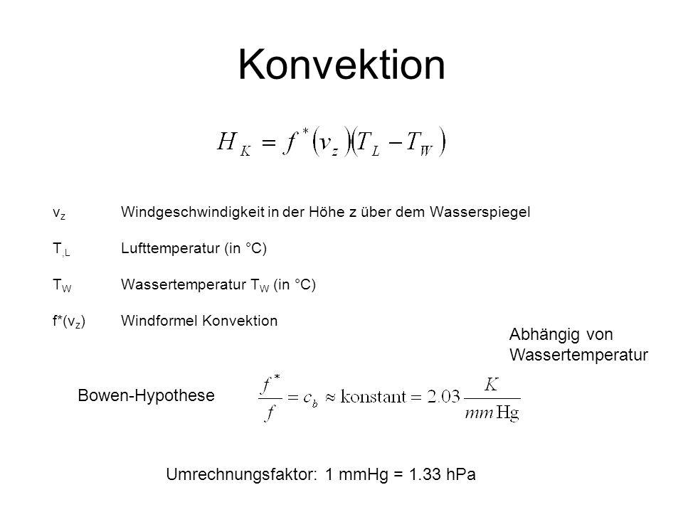 Konvektion v z Windgeschwindigkeit in der Höhe z über dem Wasserspiegel T,L Lufttemperatur (in °C) T W Wassertemperatur T W (in °C) f*(v z )Windformel