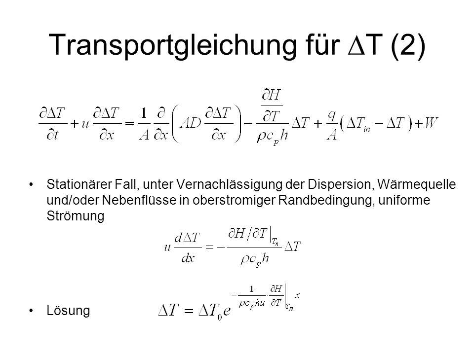 Transportgleichung für  T (2) Stationärer Fall, unter Vernachlässigung der Dispersion, Wärmequelle und/oder Nebenflüsse in oberstromiger Randbedingun
