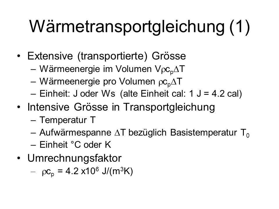 Wärmetransportgleichung (2) Transportgleichung für Temperatur T H(T) ist der Wärmefluss (J/m 2 /s = W/m 2 ) –Wärmeaustausch durch Wasseroberfläche –Wärmeaustausch durch Sohle (im folgenden vernachlässigt) –Im Nenner des Wärmeaustauschterms steht die Wärmekapazität der Wassersäule mit Tiefe h und Einheitsfläche