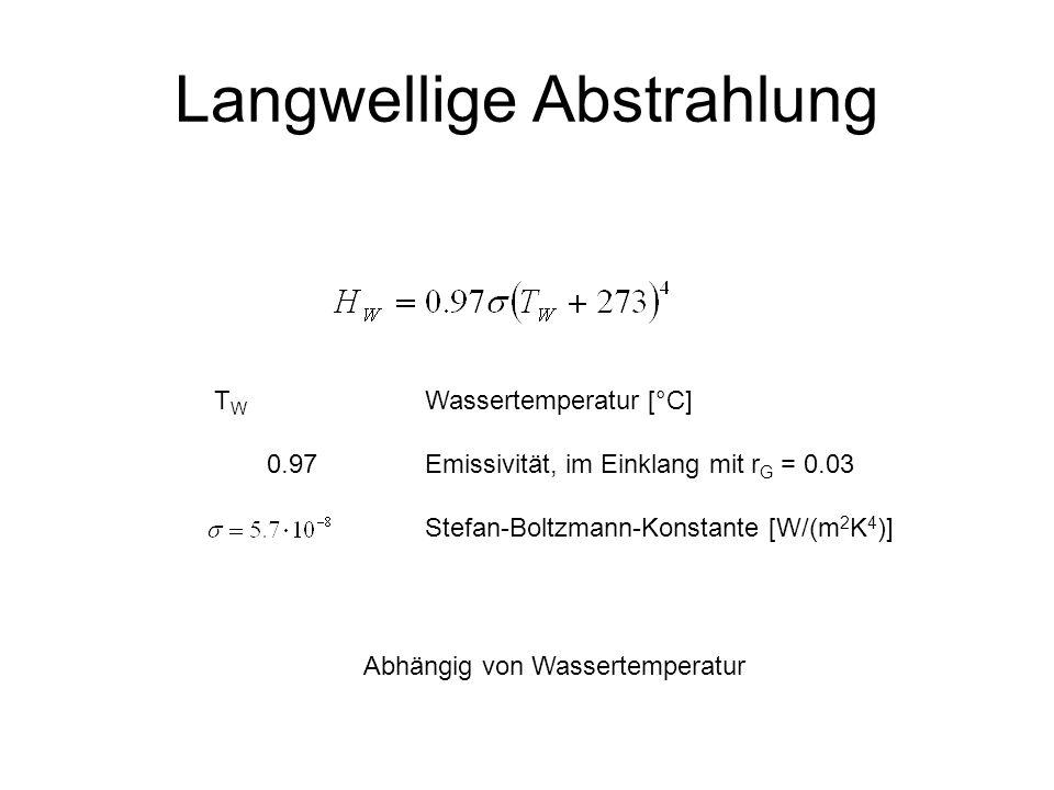 Langwellige Abstrahlung T W Wassertemperatur [°C] 0.97Emissivität, im Einklang mit r G = 0.03 Stefan-Boltzmann-Konstante [W/(m 2 K 4 )] Abhängig von W
