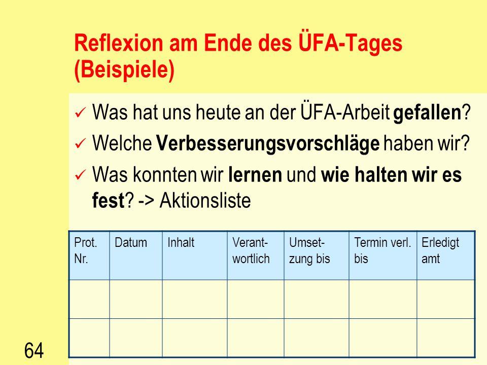 63 Vorschläge zur Reflexion der ÜFA- Arbeit Stundenprotokolle Teambesprechungen Mitarbeitergespräche Feedbackfragebögen und deren Auswertung mit den S