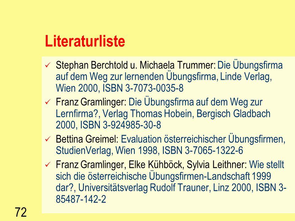 71 Literatur Fiala-Thier: Qualität – die Chance für Schulen, Manz Schulbuchverlag, Wien 2001, ISBN 3-7068-0711-4 Fiala-Thier: Qualität, Umwelt und Arb