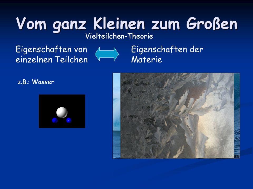 Vom ganz Kleinen zum Großen Eigenschaften von einzelnen Teilchen Eigenschaften der Materie Vielteilchen-Theorie z.B.: Wasser